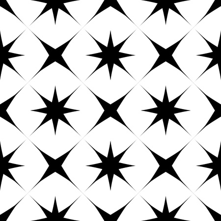 Abstract geometric  seamless pattern with stars and cross. Decorative black and white background. Vector illustration. Monochrome classic design.  イラスト・ベクター素材