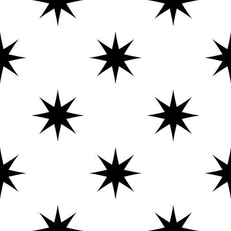 Seamless pattern with abstract stars. Simple black and white geometric background.Vector illustration. Monochrome classic design.  イラスト・ベクター素材
