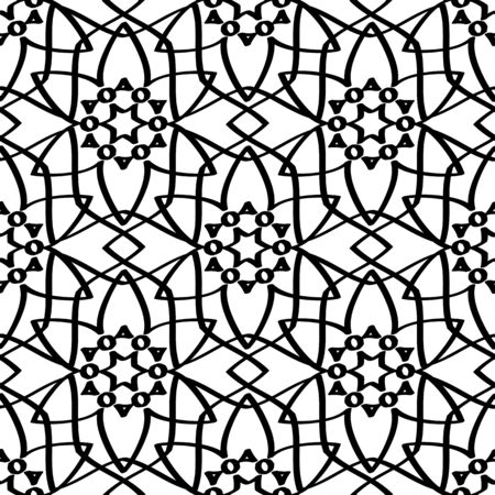 Abstract simple seamless pattern.  Cute  background with black flowers.  Monochrome vector illustration. 矢量图像