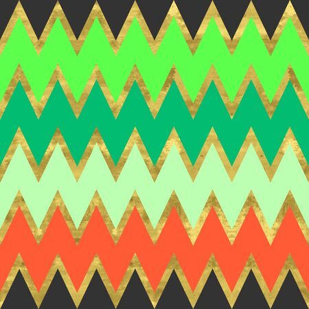 Blue, orange, black, green and gold  pattern. Abstract geometric modern zigzag background. Vector illustration.Shiny backdrop.  Classic chevron wallpaper.