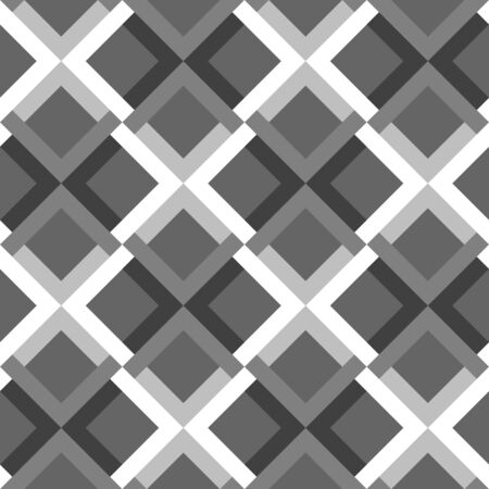 Abstract geometric seamless pattern.  Monochrome  background with rhombs and cross.  Black, gray and white fantasy geometric tile. Vector illustration.