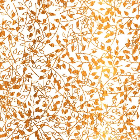 Gold and white fantasy seamless pattern with  print of golden branch. Bright festive background.  Vector illustration. Shiny splash cover. Texture of gold foil. Silhouette freehand floral wrapping. 矢量图像
