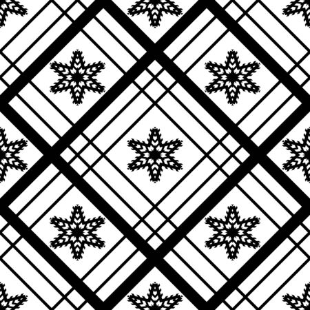 Abstract  seamless pattern. White  background with black grid and flowers. Monochrome simple vector illustration.  Design for web, wallpaper, textile, fabric etc.