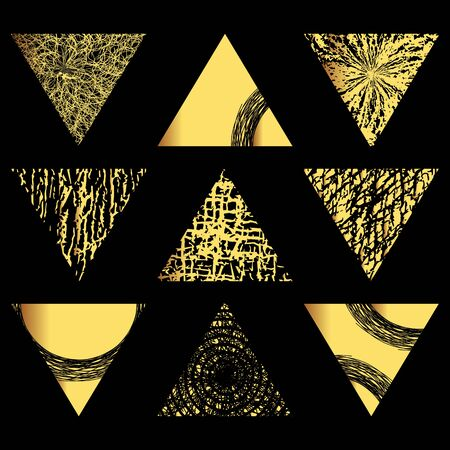 Set of  golden triangles. Hand drawn isolated elements for graphic design. Vector illustration.Art frames or banner. Editable template. Festive shapes on a black background.