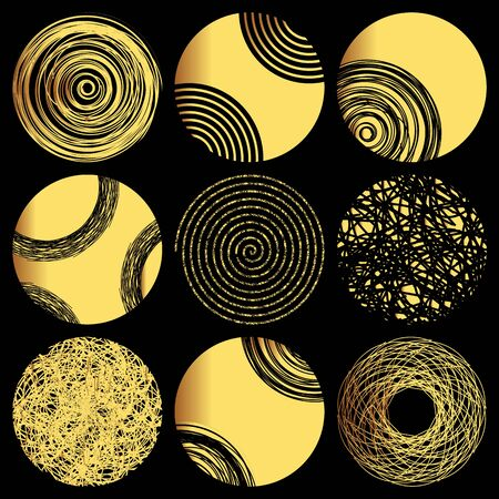 Set of 9  golden circles. Hand drawn isolated elements for graphic design. Vector illustration.Art frames or banner. Editable template. Festive shapes on a black background.