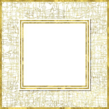 Abstract grungy modern poster with golden  pattern, golden frame and space for text.  Vector illustration.Shiny cover. Texture of gold foil. Festive banner.