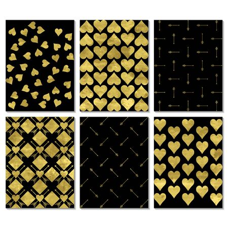 Set of black and gold  greeting card, postcard, invitation, poster.  Perfect for valentine day, wedding, birthday,  romantic scrapbook design vector templates. Hearts and arrows.