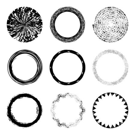 Vector set of of black circle grunge shapes, frames or brush strokes for  design. Unique hand sketched grunge brushes or banners for your design shapes or branding identity. Freehand. Watercolor splash. Acrylic stamp. 矢量图像