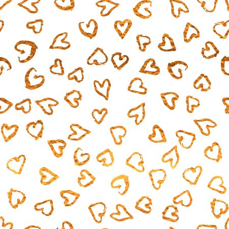 Romantic seamless pattern with golden print of pretty hearts. Shiny white and gold colors. Vector illustration. Bright glow freehand glitter symbol.