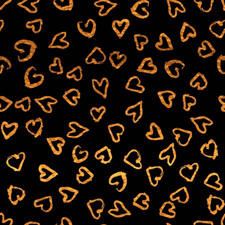 Romantic seamless pattern with golden print of pretty hearts. Shiny artistic  vector illustration. Bright glow freehand glitter and white wrapping. Black and gold colors. 矢量图像