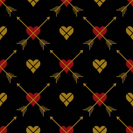 Abstract  seamless pattern with  hearts and arrows. Symmetry  gothic black, red and gold background. Vector illustration. Classic design. Cute print for textile, wrapping, web, invitation or cosplay.
