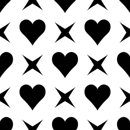 Abstract simple seamless pattern with  hearts and art stars. Symmetry black and white background.Vector illustration. Monochrome lineal classic design. Cute print for textile, wrapping or web 矢量图像