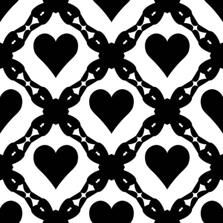 Abstract  seamless pattern with  hearts and art  lace. Symmetry  gothic black and white  background. Vector illustration. Ethnic design. Cute print for textile, wrapping, web, invitation or cosplay.