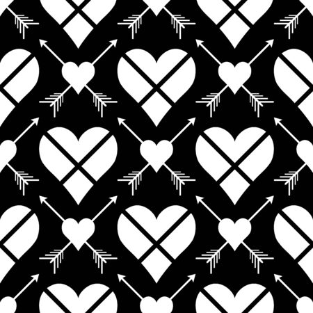 Abstract  seamless pattern with  hearts and arrows. Symmetry   black and white background. Vector illustration. Classic design. Cute print for textile, wrapping, web, invitation or cosplay.