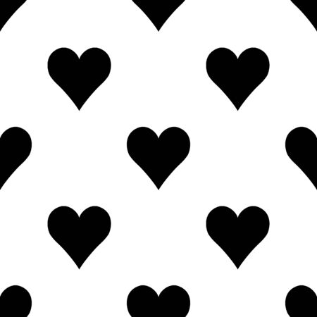 Abstract simple seamless pattern with  hearts.  Symmetry black and white background. Vector illustration. Monochrome classic design. Cute print for textile, wrapping or web 矢量图像