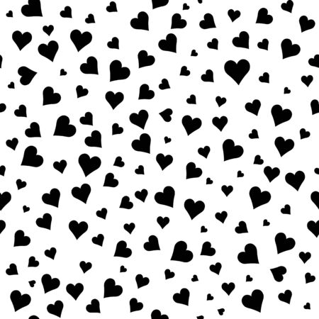 Black and white  pattern. Abstract splash modern background with  hearts. Monochrome vector illustration.  Romantic  confetti backdrop. Symbol of love. 矢量图像