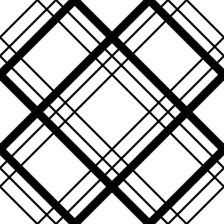 Abstract geometric  seamless pattern with rhomb. Simple black and white background.Vector illustration. Monochrome classic design.