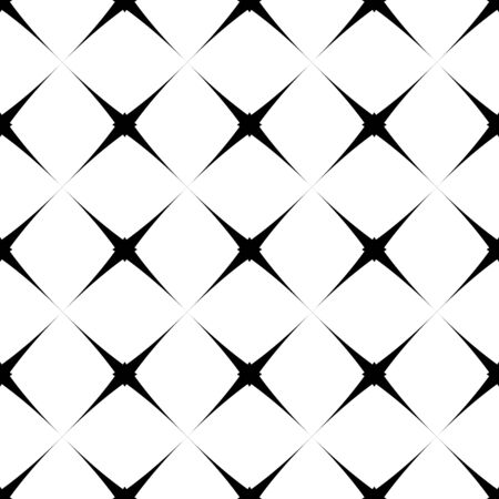 Abstract geometric  seamless pattern with cross. Simple black and white background.Vector illustration. Monochrome classic design. 矢量图像