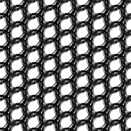 Black and white seamless pattern with ink grungy spiral  grid . Tangled artistic monochrome abstract  background. Modern design. Vector illustration.
