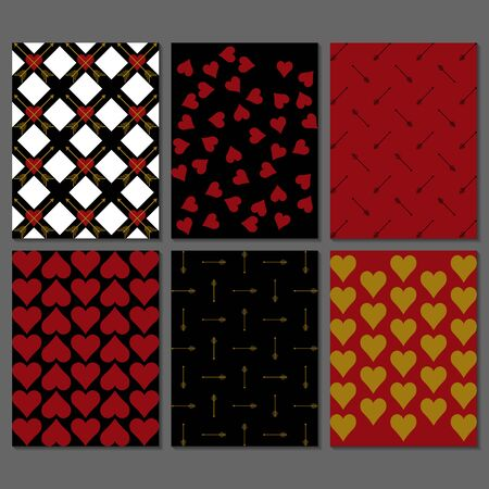 Set of black, red,  white and gold romantic greeting card, postcard, invitation, poster.  Perfect for valentine day, wedding, birthday, scrapbook. Hearts and arrows design templates.