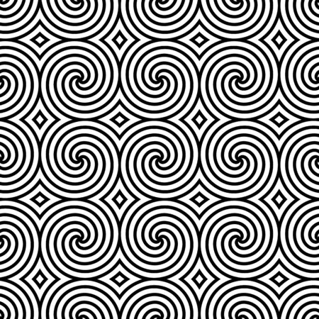 Black and white seamless pattern with simple spiral. Intricate chaos monochrome abstract  background. Modern design. Vector illustration.