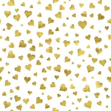 White and gold  pattern. Abstract sparkle modern background with golden hearts. Vector illustration.  Romantic shiny backdrop. Texture of gold foil. Art deco style. Shimmer confetti. Symbol of love.