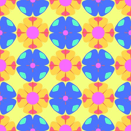 Seamless pattern with  print of multicolor colorful flowers. Vivid pink, blue  and yellow artistic vector illustration. Bright spring floral wrapping.