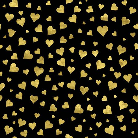 Black and gold  pattern. Abstract sparkle modern background with golden hearts. Vector illustration.  Romantic shiny backdrop. Texture of gold foil. Art deco style. Shimmer confetti. Symbol of love. 矢量图像