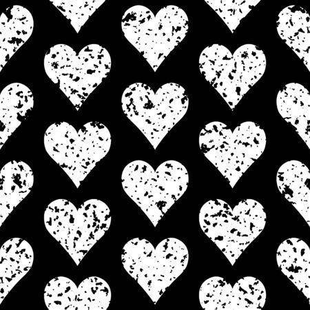 Abstract grunge seamless pattern with spotted hearts. Simple black and white background.Vector illustration. Monochrome classic design. Romantic print for textile, wrapping. 矢量图像