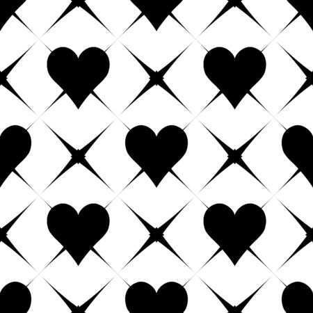 Abstract  seamless pattern with hearts. Simple black and white background.Vector illustration. Monochrome classic design. Romantic print for textile, wrapping. Easy editable.