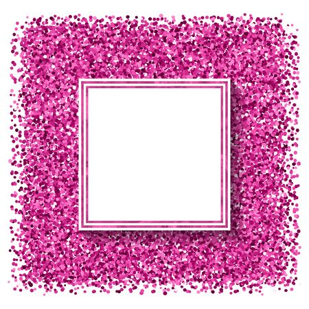 Abstract  modern poster with pink confetti, glitter frame and space for text.  Vector illustration. Shiny cover. Festive  banner. 矢量图像