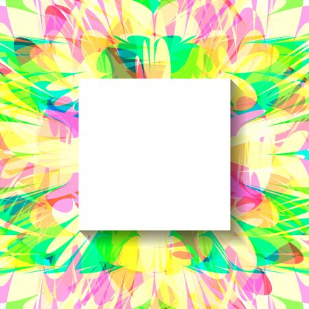 Modern abstract  poster with colorful  pieces, square frame and space for text.  Vector illustration. Bright cover. Festive spring  banner.