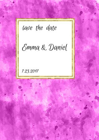 Pink and gold invitation card, wedding invitation,greeting card or postcards.  Place for your text. Classic design. Art watercolor pink stain. Vector editable template. Abstract background. 矢量图像