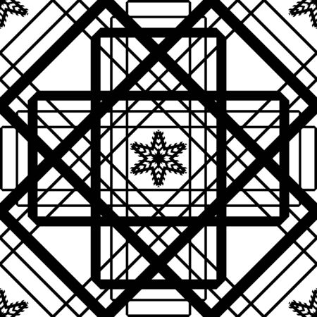 Abstract geometric tangled seamless pattern with grid. Simple black and white background.Vector illustration. Monochrome classic design.