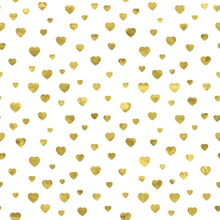 White and gold seamless pattern with glitter foil textured confetti hearts. Abstract artistic modern background. Bright shiny illustration for fabric design, wallpaper, decorative paper, web design.  矢量图像