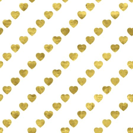 White and gold seamless pattern with glitter foil textured diagonal hearts. Abstract artistic modern background. Bright shiny illustration for fabric design, wallpaper, decorative paper, web design.