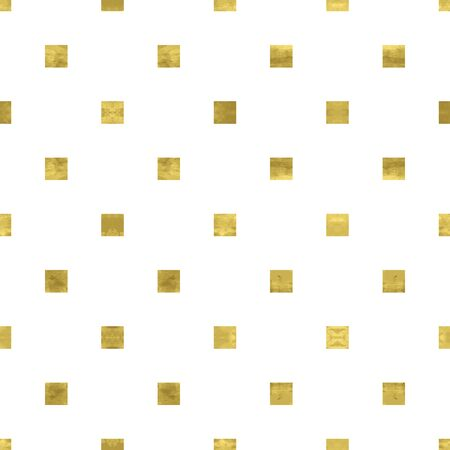 White and gold geometry pattern with mosaic confetti squares. Abstract geometric modern background. Bright shiny illustration. Texture of gold foil  for fabric, textile, wallpaper, paper, web 矢量图像