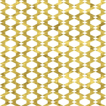 White and gold geometry pattern. Abstract geometric modern background. Bright shiny illustration. Texture of gold foil  for fabric, textile, wallpaper, decorative paper, web 矢量图像