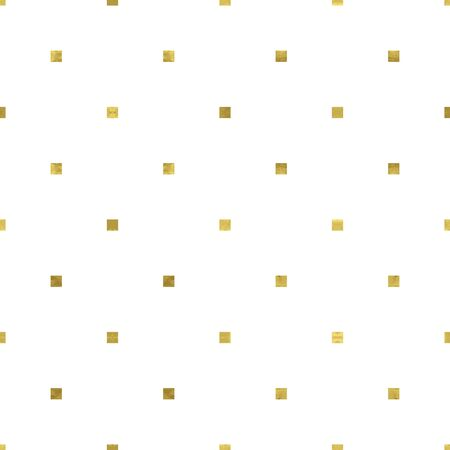 White and gold geometry pattern with mosaic confetti squares. Abstract geometric modern background. Bright shiny illustration. Texture of gold foil  for fabric, textile, wallpaper, decorative paper