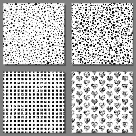 Set of 4 grunge black and white seamless patterns with  print of  grunge hearts, squares, dot and star. Splash dark grungy stamp textured illustration. Wallpaper for fabric, web, textile, apparel