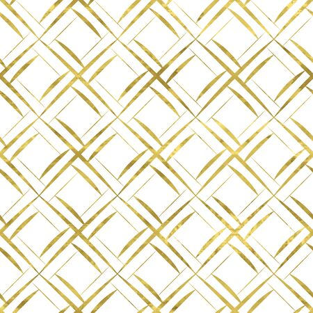 White and gold geometry pattern. Abstract geometric modern background with golden art grid. Bright shiny illustration. Texture of gold foil  for fabric, textile, wallpaper, decorative paper, web