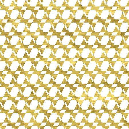 White and gold geometry pattern. Abstract geometric modern background. Bright shiny illustration. Texture of gold foil  for fabric, textile, wallpaper, decorative paper, web Illustration