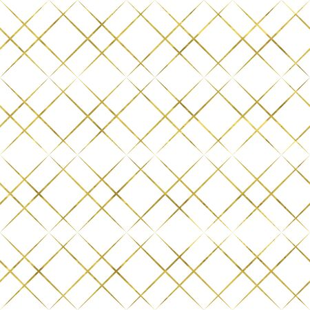 White and gold geometry pattern. Abstract geometric modern background with golden art cell grid. Bright shiny illustration. Texture of gold foil  for fabric, textile, wallpaper, decorative paper, web Stock Vector - 150317925