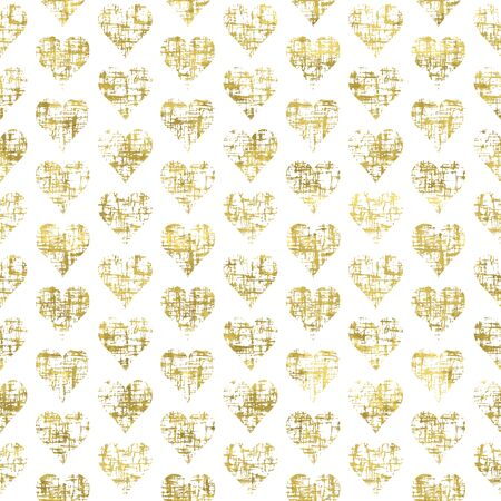 Gold and white seamless pattern with golden print of  grunge hearts. Shiny  vector illustration. Bright glow glitter hearts and white wrapping. Texture of gold foil.  Festive banner.