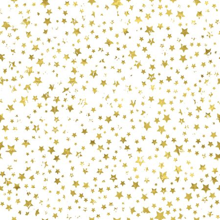 Gold and white seamless pattern with golden print of grunge stars. Shiny vector illustration. Bright glow glitter stars and white wrapping. Texture of gold foil. Festive banner.