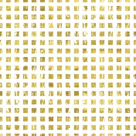 Gold and white seamless pattern with golden print of  grunge squares. Shiny  vector illustration. Bright glow glitter  shapes and white wrapping. Texture of gold foil. Festive banner.