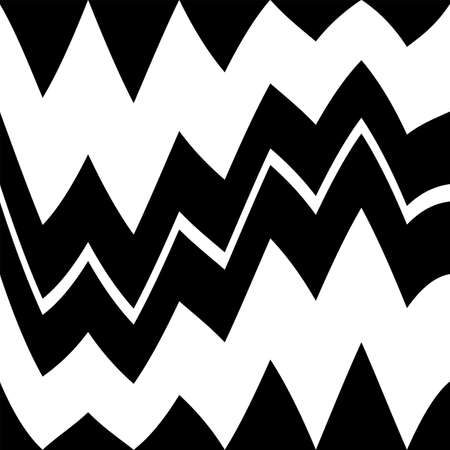 Geometric black and white seamless pattern with zigzag. Abstract vector chevron waves. Monochrome artistic illustration for fabric design, wallpaper, decorative paper, web design, background.
