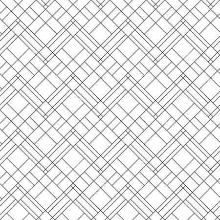 Geometric black and white seamless pattern with rhombs. Abstract vector diamond net. Monochrome artistic illustration for fabric design, wallpaper, decorative paper, web design, background.