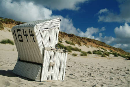 Beachchair on the island sylt, germany. photo