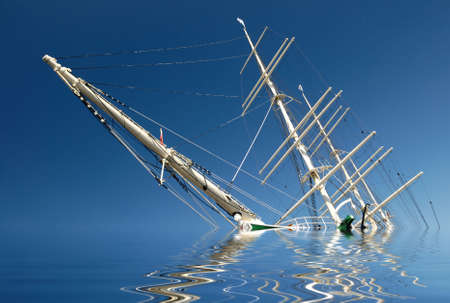 sinking: Sinking sailing ship in front of blue sky.